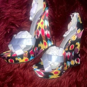 Multi colored wedge heel